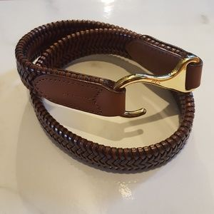 Lauren Ralph Lauren Leather Belt Stretch Woven